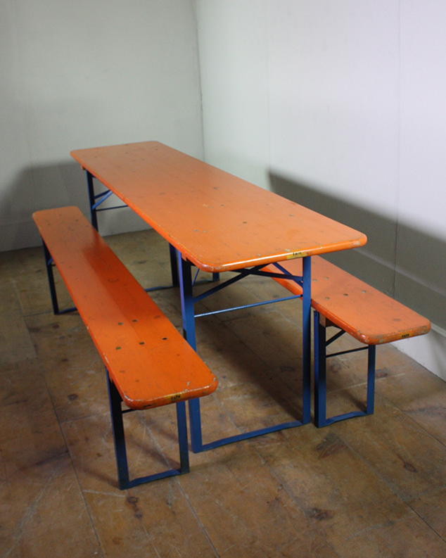 German Beer Festival Tables and Benches (Orange top with Blue legs) Oktoberfest