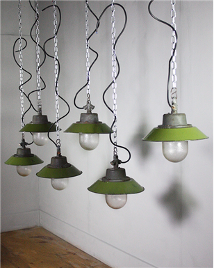 Small Czech Green Pendant Lights