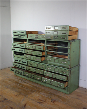 Green multi drawer cabinet
