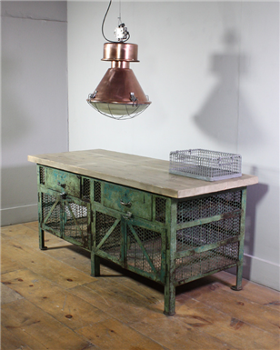 Green Distressed Meshed Workbench