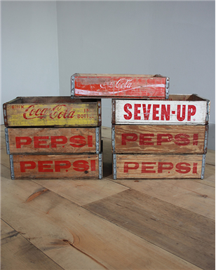 Pepsi, Coca Cola, Seven Up, Dr Pepper Crates.