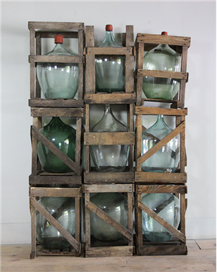 French Wooden Crated Bottles