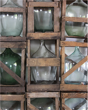 wooden crated wine bottles
