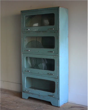 Blue Metal Display Cabinet