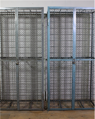 grey and blue wine cage