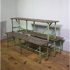 green metal benches