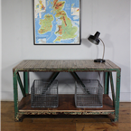Green Industrial Worktable