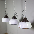 White Enamel Industrial Lights.